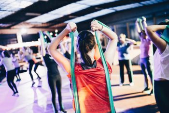an aerobics instructor teaching a class