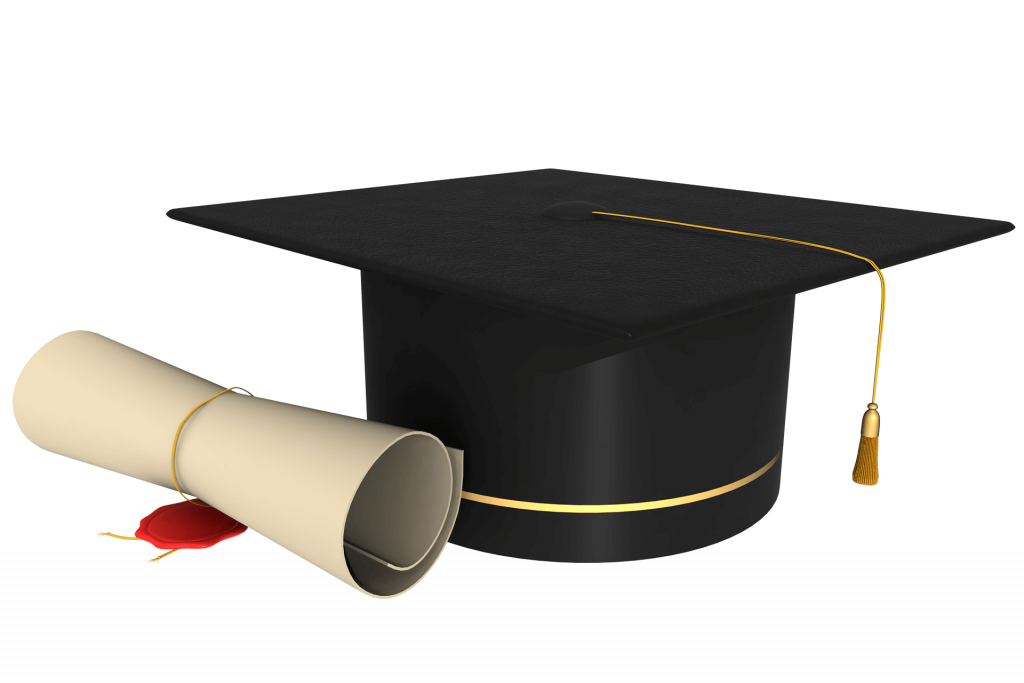 college diploma and graduation cap